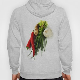 A bunch of fresh chives and vegetables over white Hoody