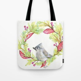 Bird in Christmas Wreath Tote Bag