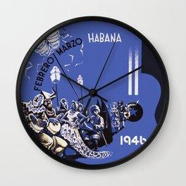 Vintage Havana Cuba Carnival 1946 Wall Clock
