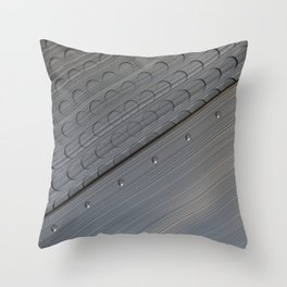 Brushed metal plate with rivets and circular grille Throw Pillow
