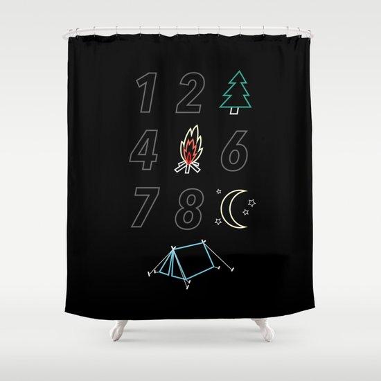 1 2 tree 4 fire 6 7 8 night tent Shower Curtain
