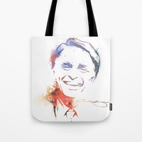 carl sagan Tote Bags featuring Splatter Sagan by KellyBK