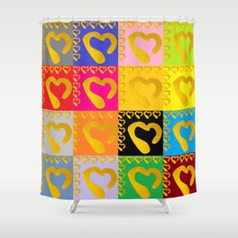 Gold Hearts on colorful Stamp Shower Curtain