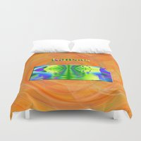 kansas Duvet Covers featuring Kansas Map by Roger Wedegis