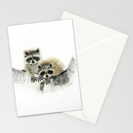 Curious Cubs - raccoons, animals, wildlife, nature Stationery Cards