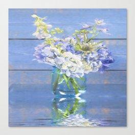 Rustic Hydrangea In Mason Jar Canvas Print