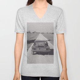 Triumph spitfire on a gravelly road in southern Italy, english sports car, fine art photography Unisex V-Neck