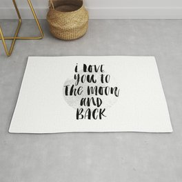 I Love You to the Moon-Back black and white modern typography childrens room nursery wall decor Rug
