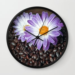 COFFEE & VIOLET DAISY Wall Clock