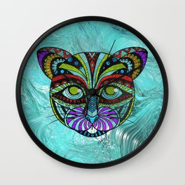 Colorful Zentangle Glitter Glass  CaColorful Zentangle Glitter Glass  Cat t Wall Clock