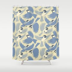 Chickadees  in Blue Shower Curtain