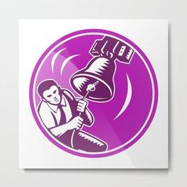 Businessman Ringing Liberty Bell Metal Print