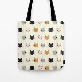 Cute Kitten & Stripes Pattern Tote Bag