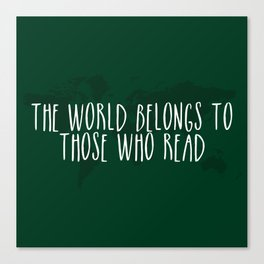 The World Belongs to Those Who Read (Green) Canvas Print