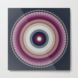 Decorative Wine Dark Blue Mandala Metal Print