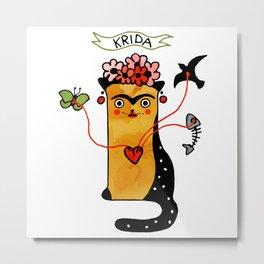 Krida Art Cat – Famous artists by Let's Cats Metal Print