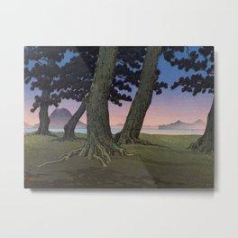 Kawase Hasui Vintage Japanese Woodblock Print Pink Purple Hues Ombre Sunset Through Pine Trees Lands Metal Print