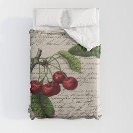 shabby elegance french country botanical illustration vintage red cherry Duvet Cover