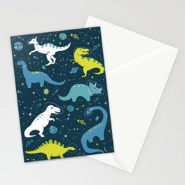 Space Dinosaurs in Bright Green and Blue Stationery Cards