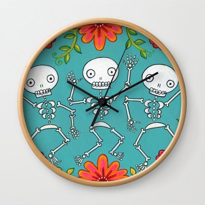 Dancing Skellys and Flowers Wall Clock