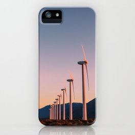 California Desert Windmills at Sunset with Mountain Vistas iPhone Case