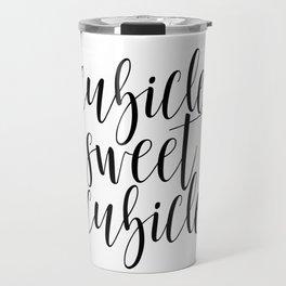 "Black and white printable art ""Cubicle Sweet Cubicle"" office art print office wall art office decor Travel Mug"