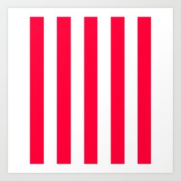 Carmine red - solid color - white vertical lines pattern Art Print