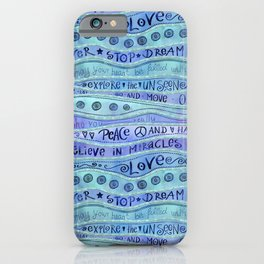 Inspirational Lettering Design In Shades Of Blue iPhone Case
