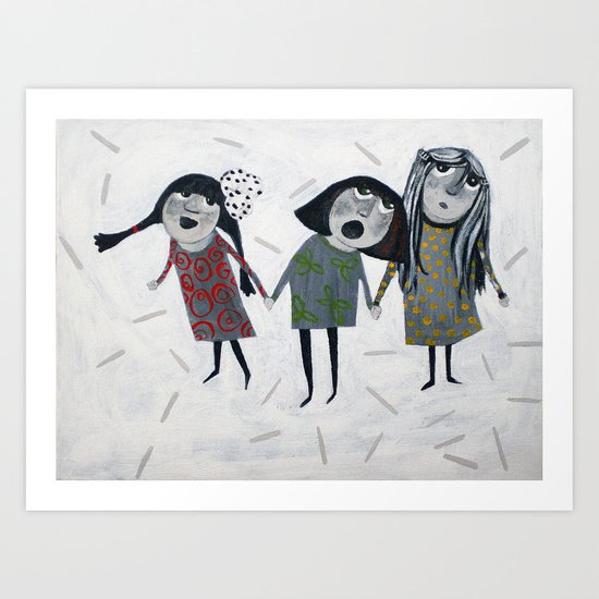 three girls Art Print