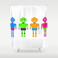 robots Shower Curtains featuring robots by vidikay