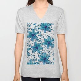 LILY AND VINES BLUE AND WHITE PATTERN TOILE Unisex V-Neck
