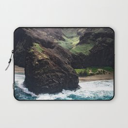 Dramatic Tropical Beach Surf Surrounded by Rugged Cliffs Laptop Sleeve