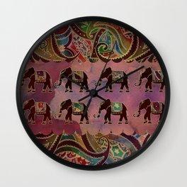 Floral elephants Wall Clock
