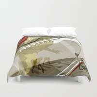 football Duvet Covers featuring Football by Robin Curtiss