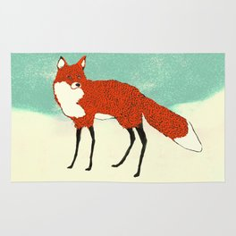 Fox in the snow, Kitsune, Vintage inspired illustration Rug