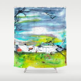 Mosaic Forest Shower Curtain