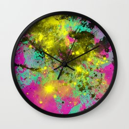 Stargazer - Abstract cyan, black, purple and yellow oil painting Wall Clock