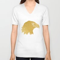 gold foil V-neck T-shirts featuring Gold Foil Eagle by Mod Pop Deco