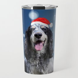 Cute Cocker Spaniel Dog Snow Stars Blue Christmas Travel Mug