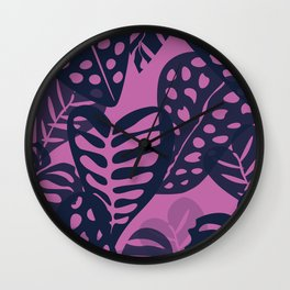 Tropical Leaves in Navy & Magenta Wall Clock