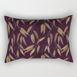 Eucalyptus leaves in autumn colors on plum violet Rectangular Pillow
