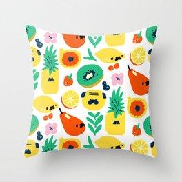 Pug and Fruit Throw Pillow