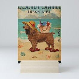 Beach Life Sandy Toes Cocker Spaniel dog gift Mini Art Print