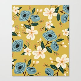 Mustard and Blue Floral Canvas Print
