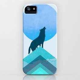 Abstraction_BLUE MOON_WOLF_FOREST_Minimalism_001 iPhone Case