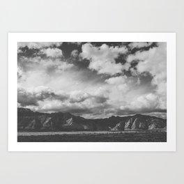 Red Rock Canyon, Las Vegas, Nevada. Mountain Black and White Photograph Art Print