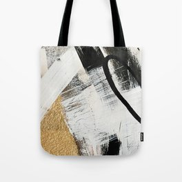 Armor [9]: a minimal abstract piece in black white and gold by Alyssa Hamilton Art Tote Bag
