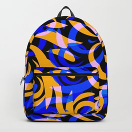 Pattern of mustard and blue doodles and curls in floral ornament in ethnic style on a black backgrou Backpack