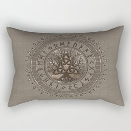 Tree of life with Triquetra Beige Leather and gold Rectangular Pillow