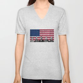 Union Heroes and The American Flag Unisex V-Neck